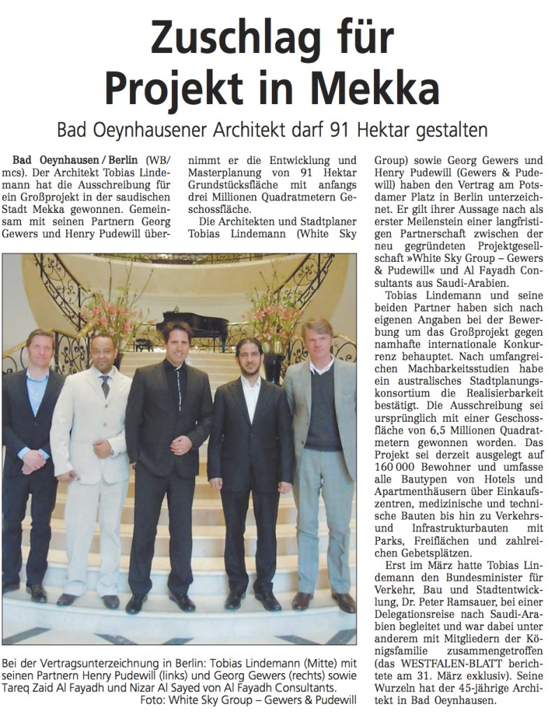 Lindemann Group - WSG-GP win megaproject in Makkah